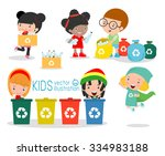 children collect rubbish for... | Shutterstock .eps vector #334983188