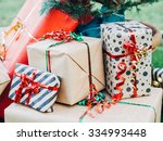 christmas day. christmas gift... | Shutterstock . vector #334993448