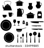 kitchen utensils saucepan ... | Shutterstock .eps vector #33499885