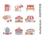 commercial buildings sings set. ... | Shutterstock .eps vector #334999358