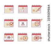 calendar set. thin line art... | Shutterstock .eps vector #335009864