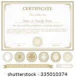 gold horizontally certificate... | Shutterstock .eps vector #335010374