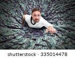 hole that sucks a businessman... | Shutterstock . vector #335014478