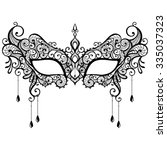 beautiful black lace masquerade ... | Shutterstock .eps vector #335037323