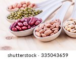 assortment of beans and lentils ... | Shutterstock . vector #335043659