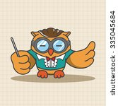 animal owl playing instrument... | Shutterstock .eps vector #335045684