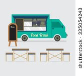 food truck with table set... | Shutterstock .eps vector #335054243