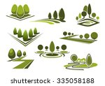 green parks and gardens... | Shutterstock .eps vector #335058188