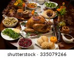 roasted turkey garnished with... | Shutterstock . vector #335079266