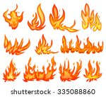 set flame fire isolated on white | Shutterstock .eps vector #335088860
