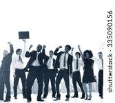 business people hands raised... | Shutterstock . vector #335090156