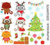 christmas vector set of cats in ... | Shutterstock .eps vector #335104970