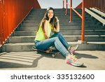 cool young long haired girl... | Shutterstock . vector #335132600