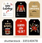 christmas gift tag with... | Shutterstock .eps vector #335140478