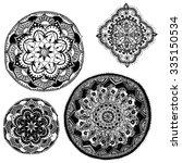 round henna pattern hand drawn... | Shutterstock .eps vector #335150534