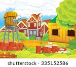 cartoon farm scene  ... | Shutterstock . vector #335152586