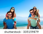 guys and girls have a rest on... | Shutterstock . vector #335159879