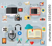 audio production and podcast  e ... | Shutterstock .eps vector #335160050