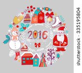 vector christmas wreath ... | Shutterstock .eps vector #335195804