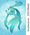 beautiful blue fish on the... | Shutterstock .eps vector #335198660