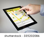 hands with touchscreen tablet... | Shutterstock . vector #335202086
