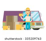 man postal delivery courier man ... | Shutterstock .eps vector #335209763
