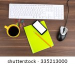 keyboard with coffee and... | Shutterstock . vector #335213000