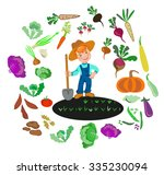 happy boy farmer grows... | Shutterstock .eps vector #335230094