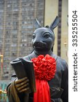 Small photo of Hong Kong, China - October 3, 2015: Chinese Zodiac Bronze Rabbit Stature at Sik Sik Yuen Wong Tai Sin Temple