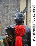 Small photo of Hong Kong, China - October 3, 2015: Chinese Zodiac Bronze Rabbit Stature at Sik Sik Yuen Wong Tai Sin Temple