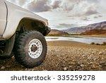 big suv car wheel stands on... | Shutterstock . vector #335259278