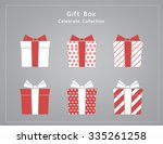 set of variety red gift box ... | Shutterstock .eps vector #335261258