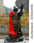 Small photo of Hong Kong, China - October 3, 2015: Chinese Zodiac Bronze Horse Stature at Sik Sik Yuen Wong Tai Sin Temple