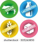 4 symbols vegan  lactose free ... | Shutterstock .eps vector #335263850