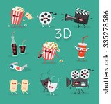 funny cinema icons set. 3d... | Shutterstock .eps vector #335278586
