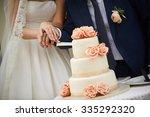 Bride And Groom Cut The Weddin...