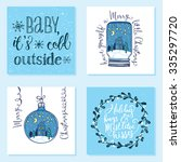 collection of 4 creative... | Shutterstock .eps vector #335297720
