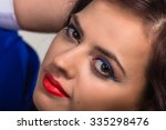 a beautiful brunette with... | Shutterstock . vector #335298476