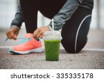 detox smoothie drink and... | Shutterstock . vector #335335178