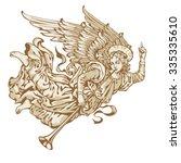 angel trumpeter in three colors ... | Shutterstock .eps vector #335335610