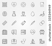 medical icons set   vector thin ... | Shutterstock .eps vector #335344949