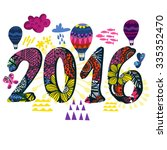 vector happy new year 2016... | Shutterstock .eps vector #335352470
