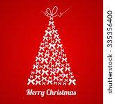 beautiful bow christmas tree.... | Shutterstock .eps vector #335356400