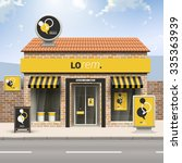 black and yellow store design... | Shutterstock .eps vector #335363939