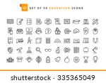 set of 50 education icons  thin ... | Shutterstock .eps vector #335365049