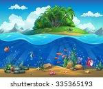 cartoon underwater world with... | Shutterstock . vector #335365193