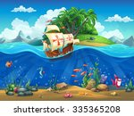 cartoon underwater world with... | Shutterstock . vector #335365208