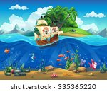 cartoon underwater world with... | Shutterstock . vector #335365220
