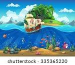 cartoon underwater world with... | Shutterstock . vector #335365220