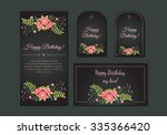 cute vintage floral cards set.... | Shutterstock .eps vector #335366420